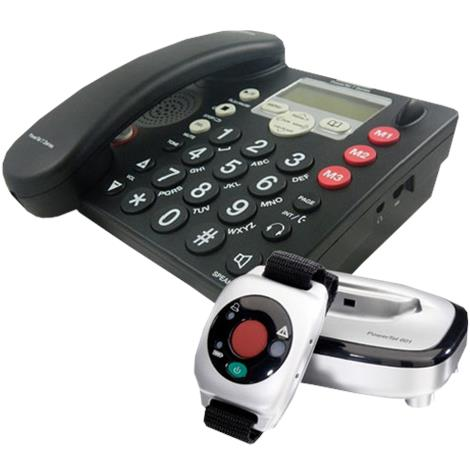 Amplicom USA PowerTel 765 Responder Amplified DECT Corded Phone,With Answering Machine and Wrist Shaker,Each,95022