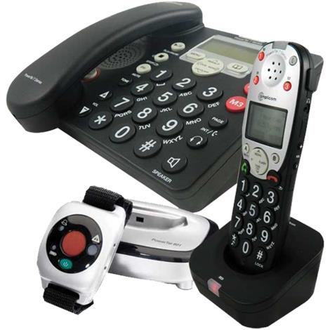 Amplicom USA PowerTel 785 Responder Amplified DECT Corded Phone,With Answering machine,Accessory handset and Wrist shaker,Each,95545