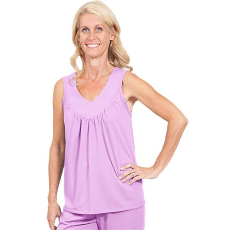 Cool-Jams Mix And Match Moisture Wicking Gathered Tank,Large,Black,Each,T4963