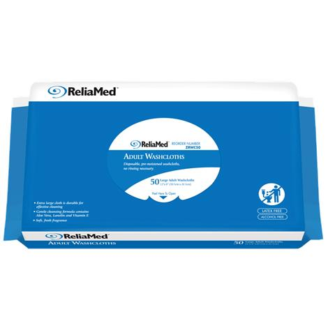 ReliaMed Soft Pack Adult Wipes,12 X 8,50/Pack,12Pk/Case,WC50