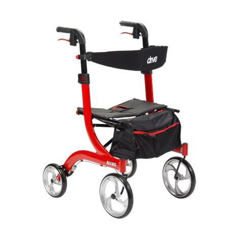 Drive Nitro Euro-Style Tall Aluminum Four Wheel Rollator,Red,Each,RTL10266-T