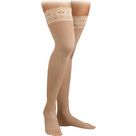 FLA Activa Soft Fit Queen Thigh High 20-30mmHg Stockings With Lace Top,Ivory,Pair,H3865