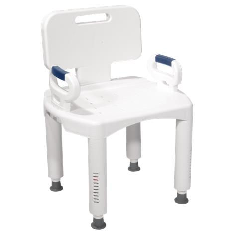 Drive Premium Series Shower Chair with Back and Arms,White,Each,RTL12505
