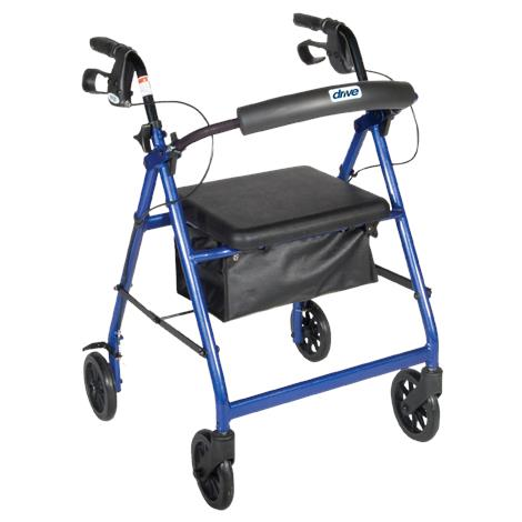 Drive Aluminum Rollator with Fold Up and Removable Back Support,Black,Each,R726BK
