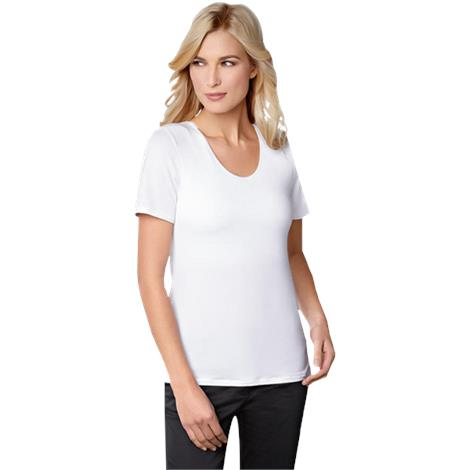 Amoena Valetta T-Shirt With Pocketed Shelf Bra,Size 10, White,Each,70232 AMO70232