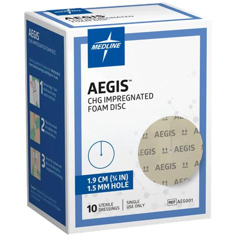 "Medline Aegis CHG Impregnated Foam Disc,1"" Disk,4mm Hole,40/Pack,AEG014"