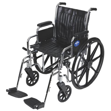 """Medline 2000 Excel Manual Wheelchair,Seat 20""""W x 16""""D,Elevating Detachable Footrests,Each,MDS806450FLA"""