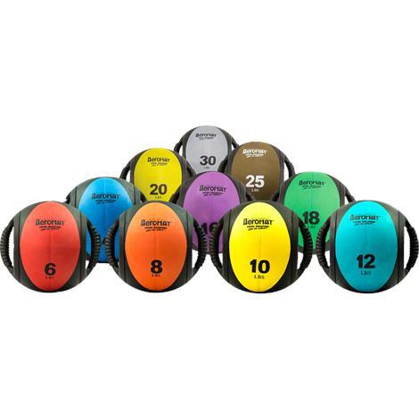 Aeromat Dual Grip Power Medicine Ball,10lb,Black/Yellow,Each,35133