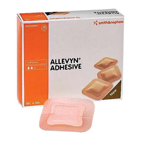 "Allevyn Adhesive Foam Dressing,3"" x 3"" with 2"" x 2"" Pad,10/Pack,4Pk/Case,66020043"