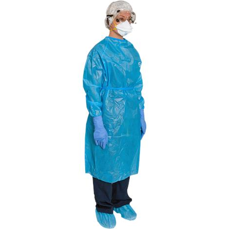 Covidien Kendall ChemoPlus Poly-Coated Impervious Gowns,Large,Closed Back,Med Blue,30/Case,CT5503