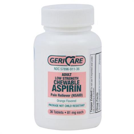 Mckesson Geri-Care Aspirin Pain Relief Tablets,81mg Strength,36/Pack,12Pk/Case,911-36-GCP