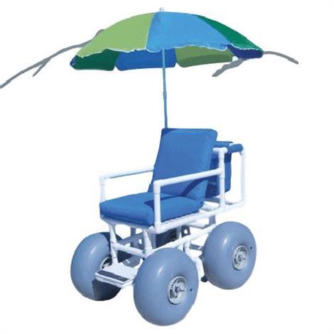 """Aqua Creek Beach Access Chair with 4 Large Wheels and Umbrella,Seat Cushion 22""""W,Each,F-6001"""