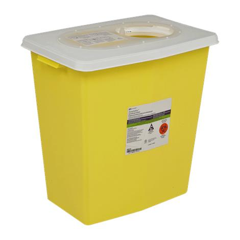 """Covidien Kendall ChemoSafety Sharps Container with Sliding Lid,12Gallon,6"""" Round Opening,Yellow,10/Case,8934"""