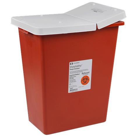 Covidien Kendall Large Volume Container with Hinged Lid,12 Gallon,Red with Sealing Gasket Lid,10/Case,8932