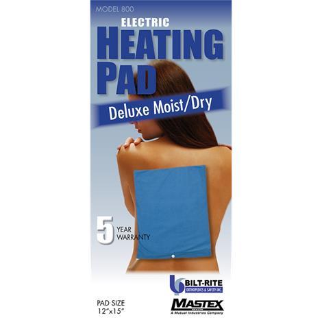 Bilt-Rite Deluxe Moist/Dry Blue Electric Heating Pad,220 Volts (2 Heat Settings),Each,800-220