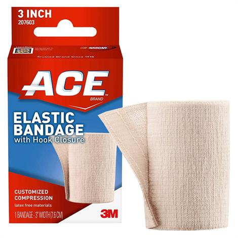 "3M ACE Elastic Bandage With Hook Closure,Elastic Bandage With Hook Closure 3"" Beige,Each,88207603"