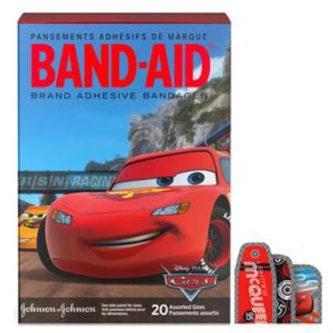 Johnson & Johnson Band-Aid Decorated Cars Adhesive Bandage,Assorted,20/Pack,117151