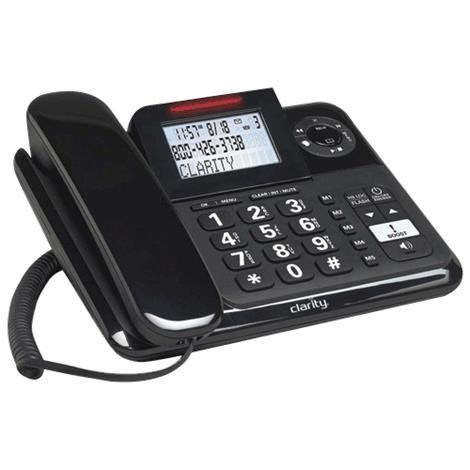 Clarity Amplified Corded Phone with Digital Answering Machine,8-1/4H x 6-3/4W x 2-1/4D,Each,E814