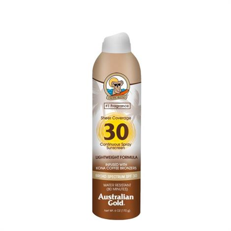 Australian Gold Sheer Coverage Continuous Sunscreen Spray with Bronzer and Kona Coffee,SPF 30,6 oz,Each,A70661