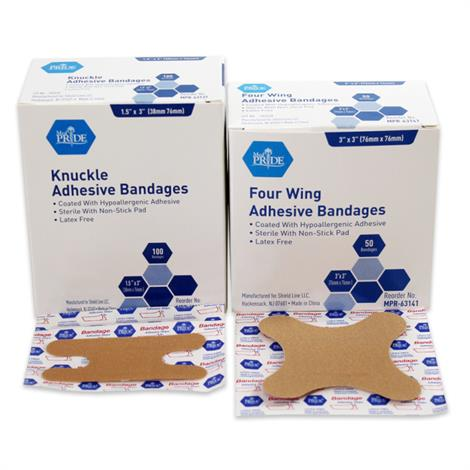 MedPride Sterile Fabric Adhesive Bandages,Knuckle, 1 1/2 x 3,100/Pack, 24Pk/Case,MPR-63131