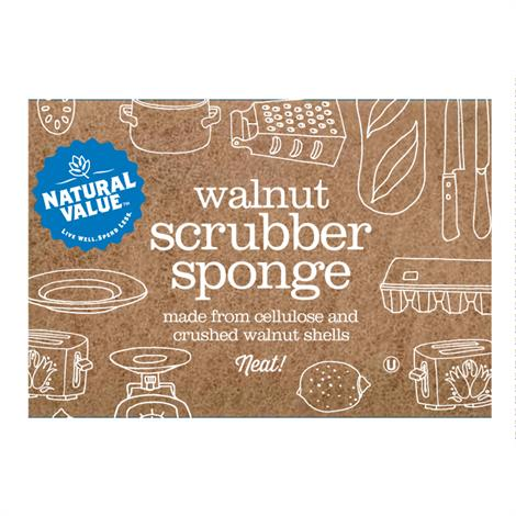 Natural Value Scrub Sponge,Scouring Pad Sponge,2 ct,24/Pack,B60078
