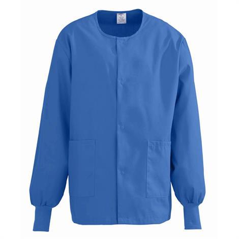 Medline ComfortEase Unisex Crew Neck Warm-Up Jacket- Royal Blue,2X-Large,Each,8832JRLXXL