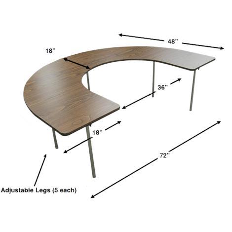 Bailey Horseshoe Shape Adjustable Activity Table,Adjustable Activity Table,Each,355H