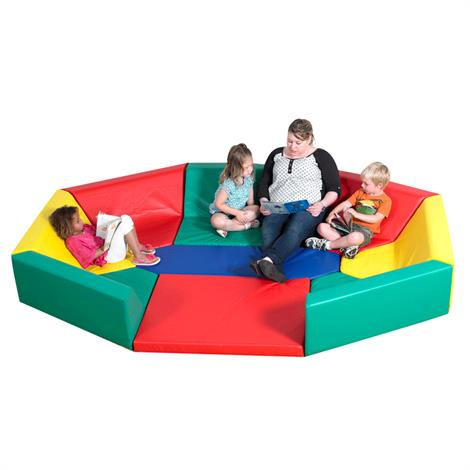 "Childrens Factory Soft Octagonal Rainbow Hollow Seating,106"" x 77.5"" x 13.5"",Each,CF321-911"