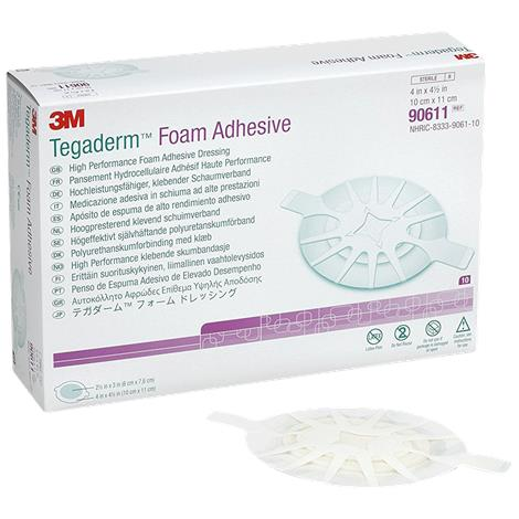 """3M Tegaderm High Performance Foam Adhesive Dressing,2-3/4"""" x 2-3/4"""" with 1"""" x 1"""" Round Pad,Mini Wrap,10/Pack,4Pk/Case,90615"""