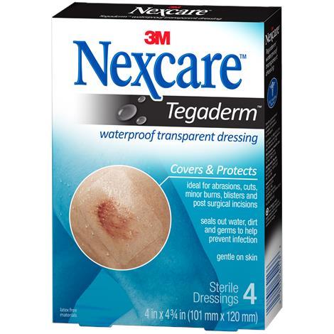"3M Healthcare Nexcare Tegaderm Waterproof Transparent Dressing,4"" x 4-3/4"",4/Pack,H1626"
