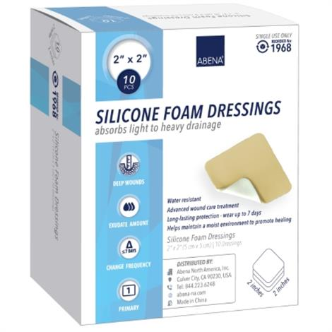 """Abena Silicone Foam Dressing,4"""" x 4"""",Without Border,10/Pack,1969"""