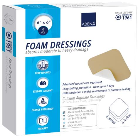 """Abena Foam Dressing,4"""" x 4"""",Square - Without border,10/Pack,1960"""