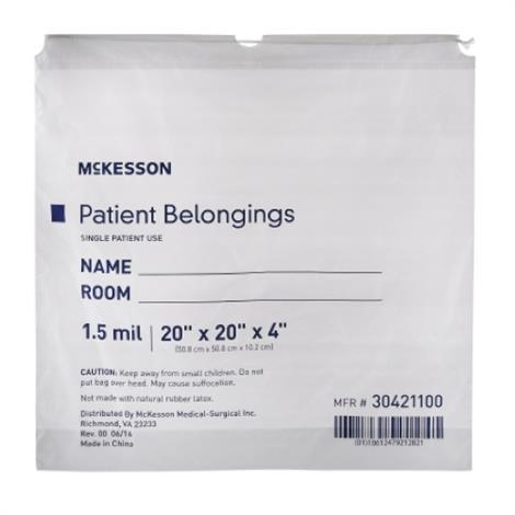 McKesson Patient Belonging Bag,Drawstring Closure Bag,Clear,250/Case,30431100