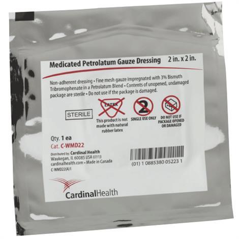 "Cardinal Health Medicated Petrolatum Gauze Non Adherent Sterile Dressing,2"" x 2"",25/Pack,C-WMD22"