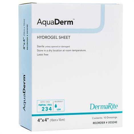 "DermaRite AquaDerm Hydrogel Sheet Wound Dressing,2"" x 2"",10/Box,00322E"