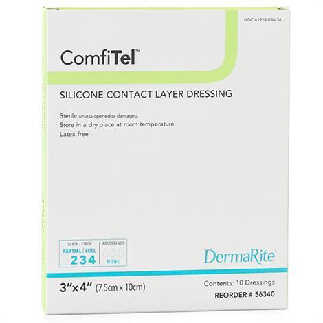 "DermaRite ComfiTel Silicone Wound Dressing,2"" x 3"",10/Box,56230"