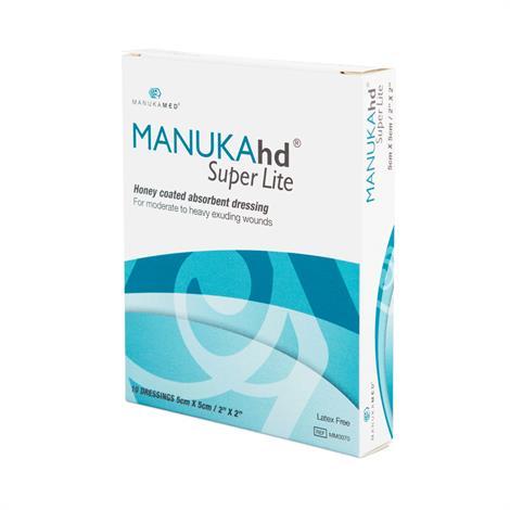 """ManukaMed MANUKAhd Super Lite Honey Coated Absorbent Dressing,2"""" x 2"""",10/Pack,MM0070"""