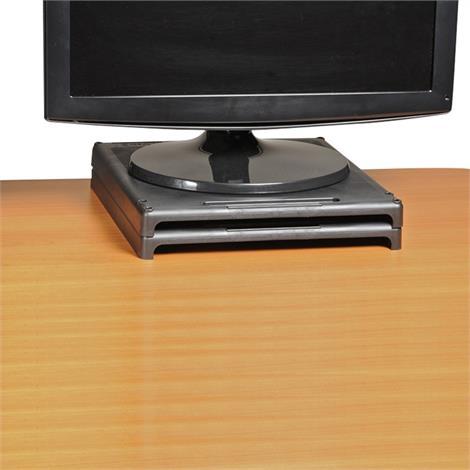 """VuRyser High-Impact Plastic Stackable Monitor Riser,Black,Height 1"""" (2.5cm),Each,VUR2455"""