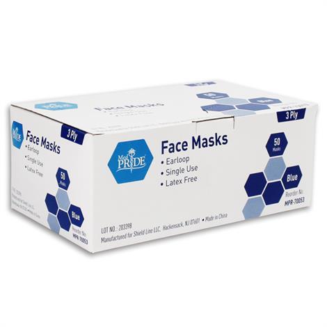 Image of MedPride Ear Loop Face Mask,Blue,50/Case,MPR-70053