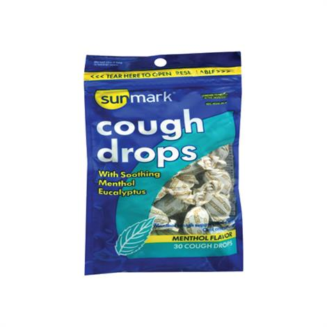 McKesson Sunmark Cold And Cough Drops,Cherry Flavor,Sugar free,Strength 5.8mg,25/Pack,49348098605