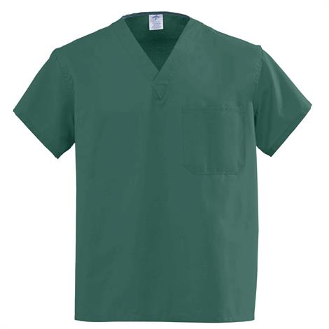 Medline AngelStat Unisex Reversible V-Neck Scrub Tops - Hunter Green,Large,Each,610NHGL-CA
