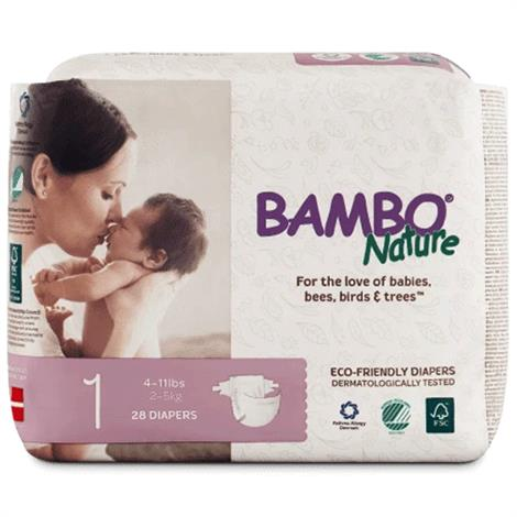 Abena Bambo Nature Disposable Diaper,Size 2,for 7 to 13 lb,30/Pack,16048