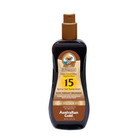 Australian Gold Sunscreen Spray Gel with Instant Bronzer,SPF 30,8 oz,Each,A70536