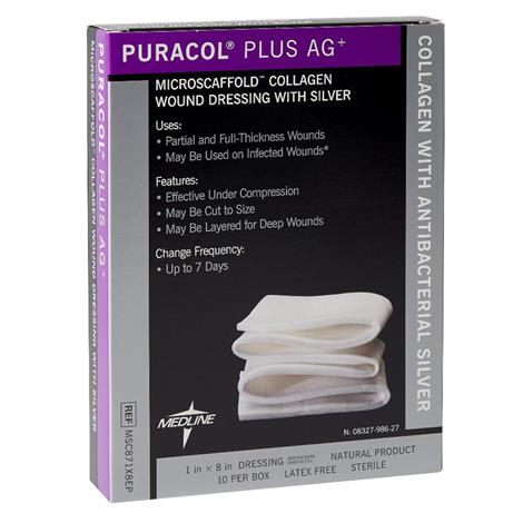 """Medline Puracol Plus AG Collagen Rope Dressing with Silver,1"""" x 8"""" (2.54cm x 20.32cm),10/Pack,MSC871X8EPZ"""