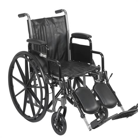 "Drive Silver Sport 2 Dual Axle Standard Wheelchair,16"",Detachable Desk Arm,Swing-Away Elevating Legrests,Each,SSP216DDA-ELR"