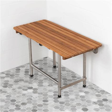 Plantation Teak ADA Shower Seat with Drop Down Legs,42