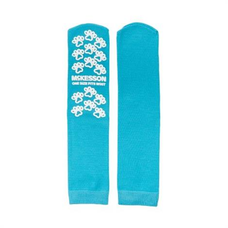 McKesson Paw Prints Teal Above Ankle Slipper Socks,Universal,Teal,96/Pack,40-1069