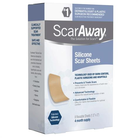 """Perrigo ScarAway Silicone Scar Sheets,1.5"""" x 3"""",8/Pack,3532769"""