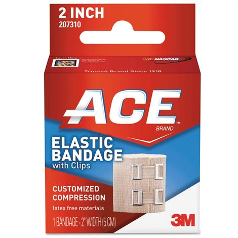 3M ACE Elastic Bandage With Metal Clips,2 Inch,Elastic Bandage With Metal Clips,Each,207310