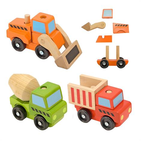 Melissa & Doug Stacking Wooden Vehicles,Construction Vehicles,Each,3076